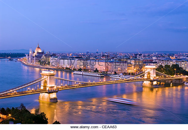 The Parliament Building and Chain Bridge over the Danube River seen from Castle Hill district, Budapest, Hungary. - Stock Image