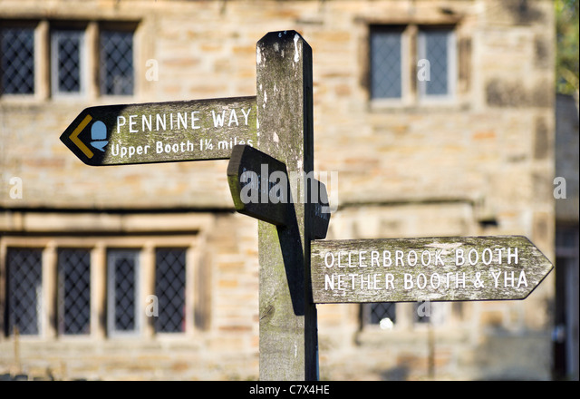 The start of the Pennine Way outside the Nags Head pub in Edale, Peak District National Park, Derbyshire, England, - Stock Image