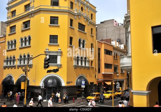 colonial buildings Plaza Mayor Lima Peru - Stock Image