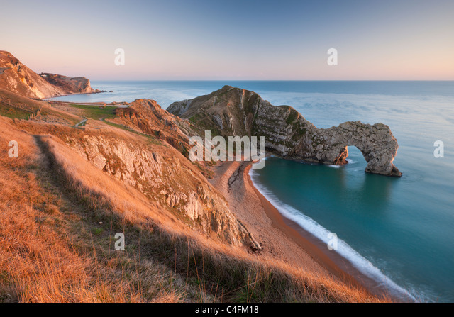 View from cliff tops down into Durdle Door, Dorset, England. Winter (January) 2011. - Stock Image
