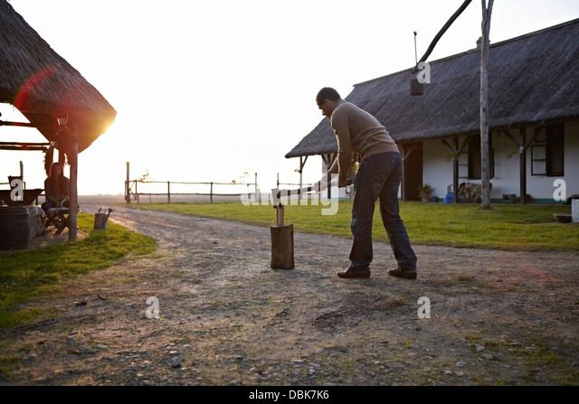 Man Splitting Log In Half, Woman In Background, Baranja, Croatia, Europe - Stock Image