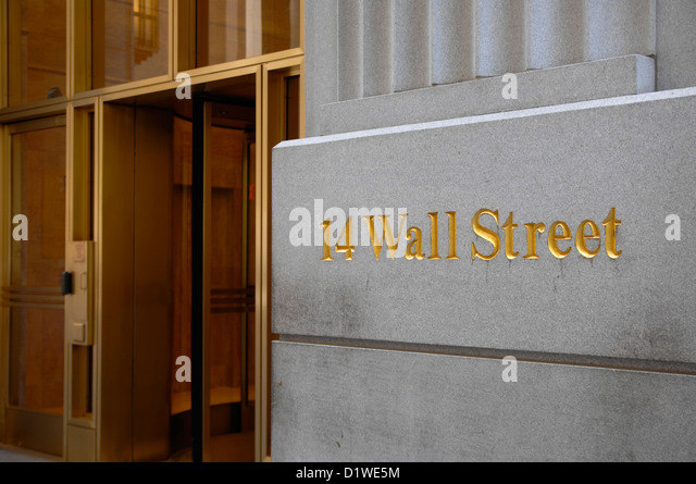 Detail of building entrance, Wall Street, New York City, USA - Stock Image