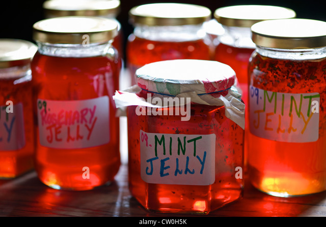 Jars of homemade preserves - Stock Image