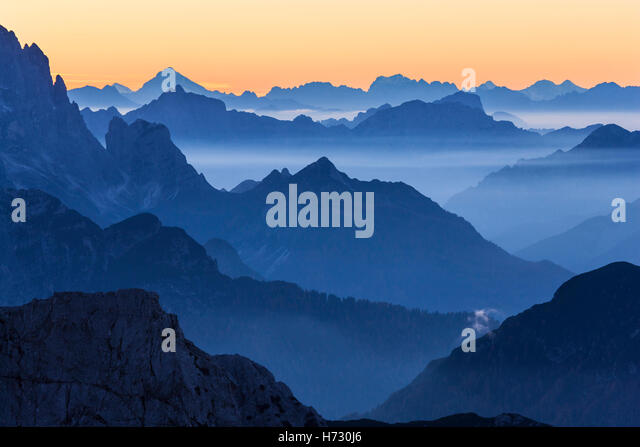 Mountain peaks background - Stock Image