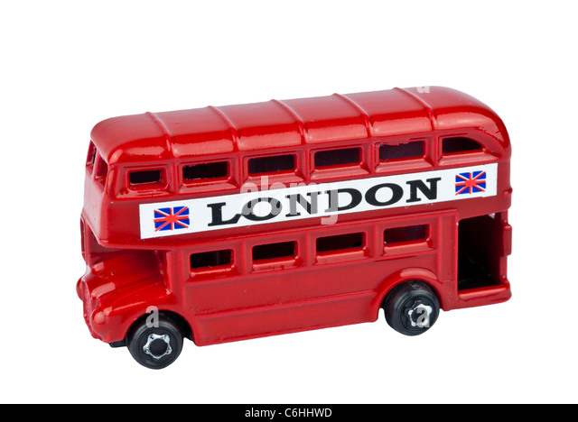 RED LONDON BUS TOY cutout on white background - Stock Image