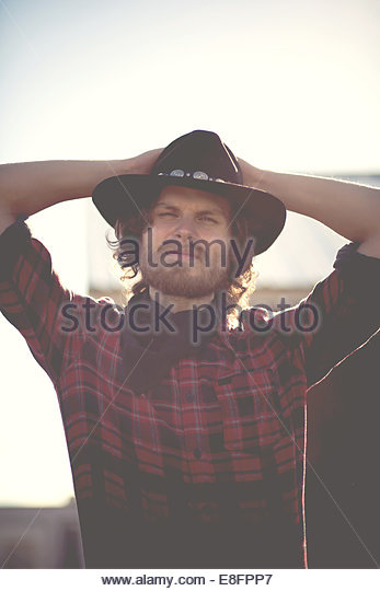 Portrait of modern day cowboy - Stock Image