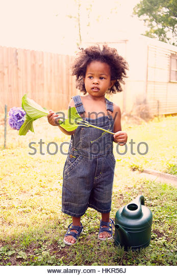 Cute toddler with big afro - Stock Image