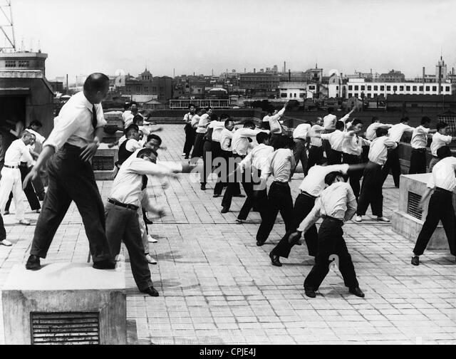 Employees are doing gymnastics, 1939 - Stock Image