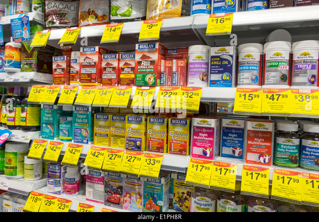 Brisbane Australia Queensland Fortitude Valley Station Terry White Chemists pharmacy drugstore fish oil dietary - Stock Image