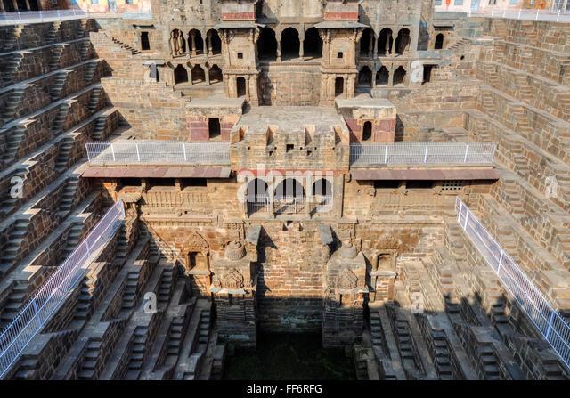 Chand Baori stepwell, Abhaneri, Dausa, Rajasthan, India - Stock-Bilder