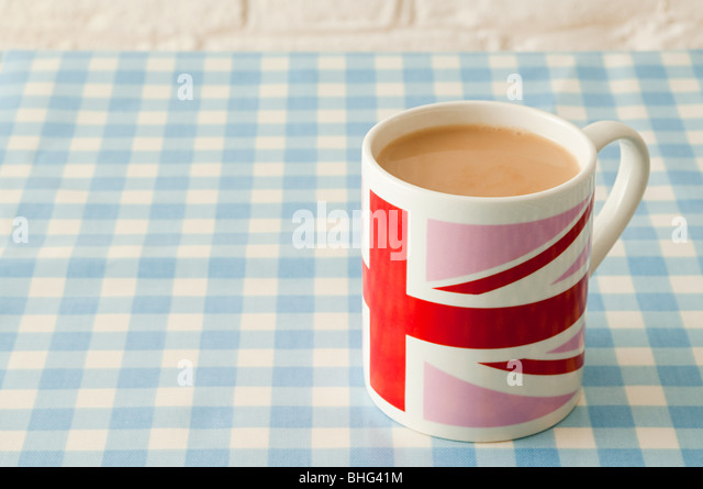 Cup of tea in union jack mug - Stock Image