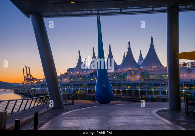 Sculpture titled 'The Drop' at Vancouver Convention Centre West, Vancouver, British Columbia, Canada - Stock Image