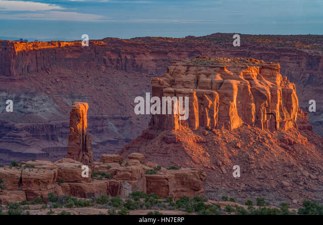 Solstice Spire and the Merry-Go-Round Butte, Colorado River, Utah, Bears Ears National Monument - Stock-Bilder