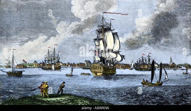 Port of Charleston South Carolina before the American Revolution late 1700s - Stock Image