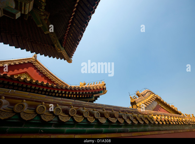 Forbidden City Roofs, Beijing, China - Stock Image