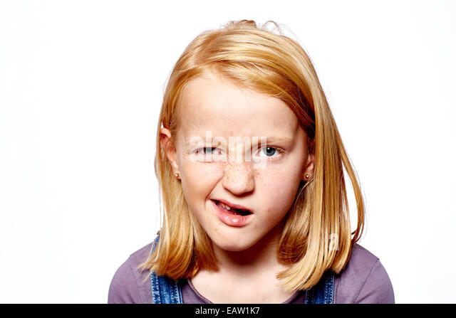 young girl grimace - Stock Image
