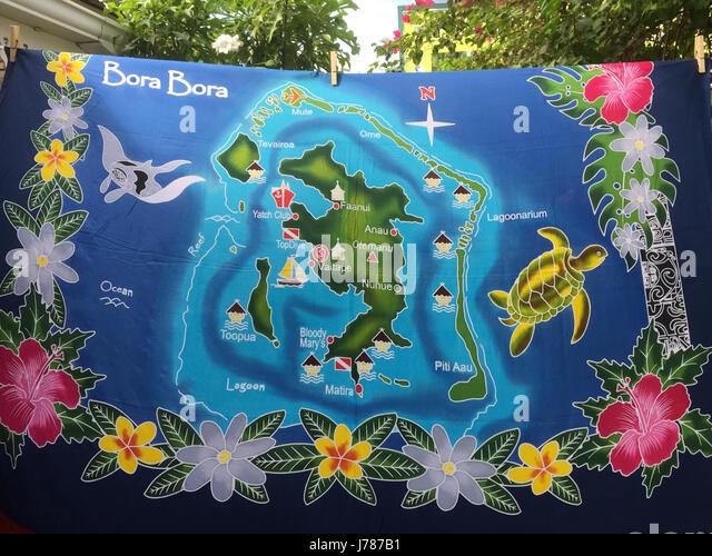BORA BORA Tie-dye design showing features of the island in  French Polynesia. Photo: Tony Gale - Stock-Bilder
