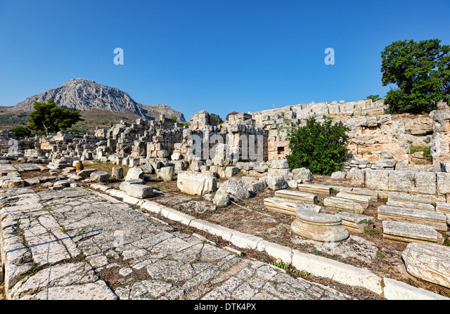 Lechaion Road in Ancient Corinth, Greece - Stock Image