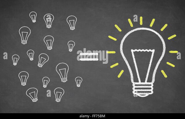 many small light bulbs equal big lightbulb - Stock Image