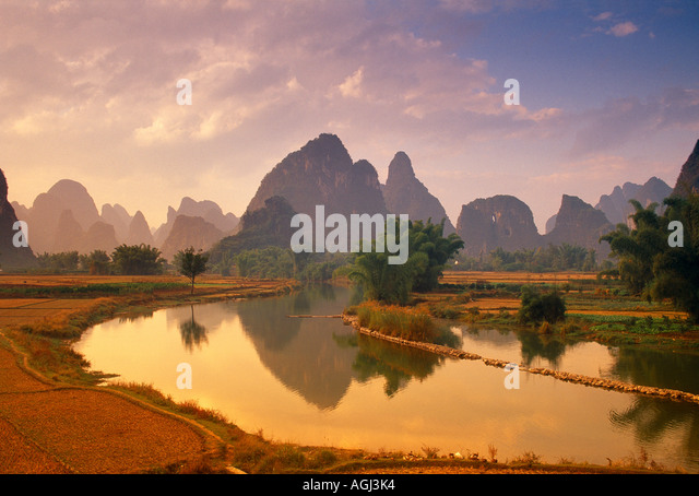River Li nr Yangshou Guangxi Province China - Stock-Bilder