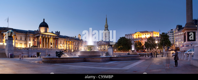 Statue and Fountains,Trafalgar Square, London,UK - Stock Image