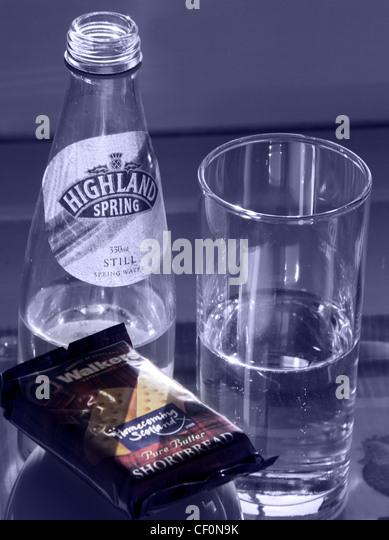 Products of Scotland, highland spring water, walkers shortbread in blue, the colour of the St Andrews cross flag - Stock Image