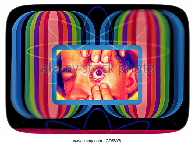 Eye and face odd atomic test card retro - Stock Image