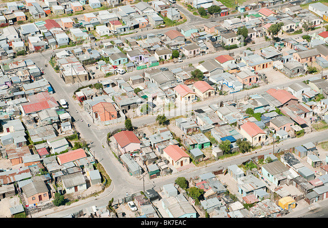 Aerial view of cape town shanty town - Stock-Bilder