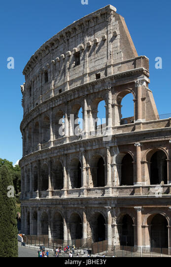 The Colosseum  (Flavian Amphitheatre), is an large oval amphitheatre in the city of Rome, Italy. It is the largest - Stock Image