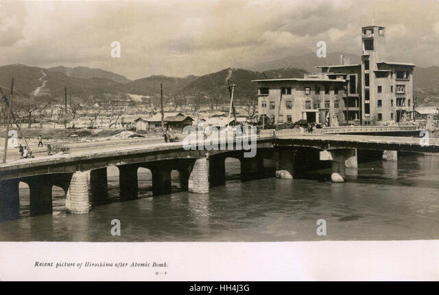 Scene after the dropping of the atomic bomb, Hiroshima, Japan. - Stock Image