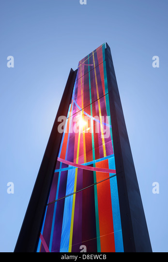 Stained glass outside the Liverpool Metropolitan Roman Catholic Cathedral - Stock-Bilder