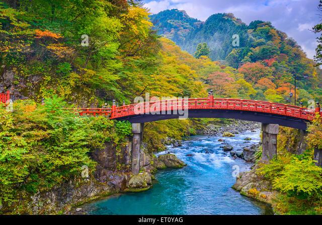 Nikko, Japan at the Shinkyo Bridge over the Daiwa River. - Stock Image