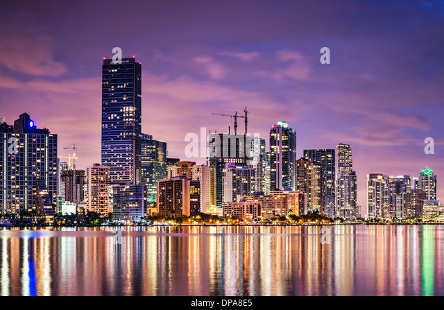 Skyline of Miami, Florida, USA over Biscayne Bay. - Stock Image
