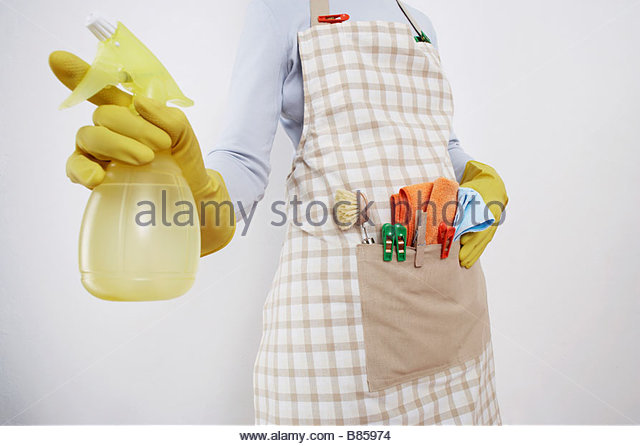 detail of woman ready to do housework holding spray bottle - Stock Image