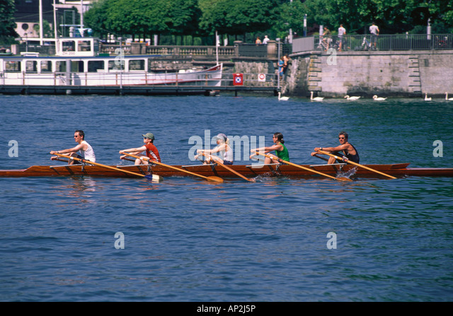 People in a rowing boat on Lake Zurich, Sport, Zurich, Switzerland - Stock Image