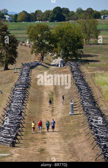 The Sunken Road (Bloody Lane), Antietam Civil War Battlefield, Virginia USA - Stock Image