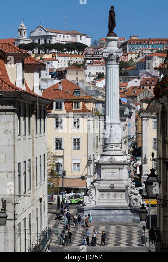 City of Lisbon - Portugal. The Column of Pedro IV in Rossio Square (Praca de D. Pedro IV). The column was erected - Stock Image