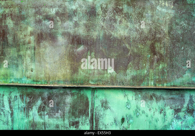 Oxidized Green Copper Metal Plate Texture as Industrial Rustic Background - Stock Image
