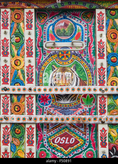 Details from an elaborate and artistically decorated colourful Bedford truck in Pakistani style, on display in Oslo - Stock-Bilder
