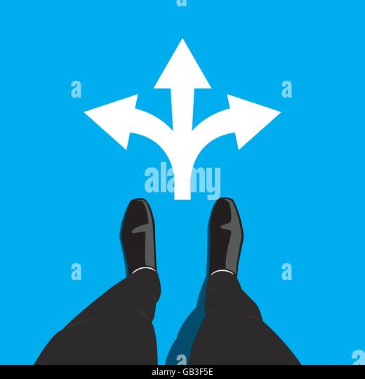 Businessman standing at the crossroad making decision which way to go - three ways to choose. Vector graphic design - Stock Image