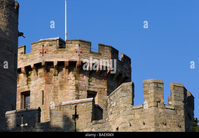 Guy's Tower & Walls, Warwick Castle, Warwick, Warwickshire. - Stock Image