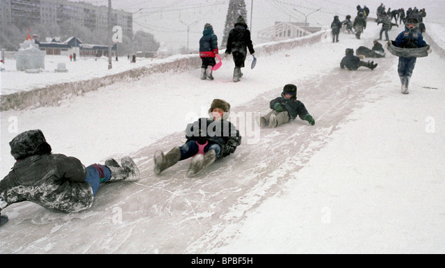 Young residents of Novokuznetsk are not afraid of severe frosts - Stock Image