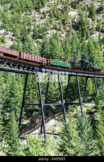 Historic Georgetown Loop Railroad going over High Bridge, Georgetown, Colorado USA - Stock Image