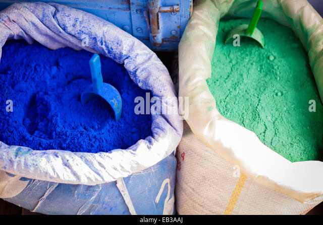 Morocco, Medina, Colored powders for textile dyes on streets - Stock Image