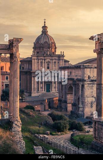 Rome, Italy:Santi  Luca e Martina Church in Roman Forum - Stock Image