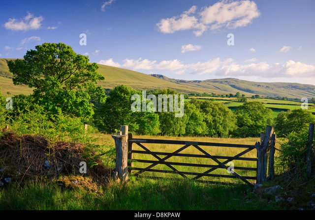 Rural countryside Llanddeusant (Y Mynydd Du) Black Mountain Brecon Beacons National Park Carmarthenshire Wales - Stock Image