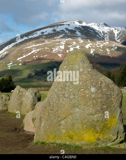 Castlerigg Stone Circle with Blencathra in the background - Stock Image
