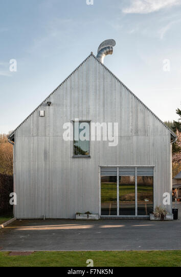 Presteigne, Powys, Wales, UK. The Workhouse, a studio and gallery clad in corrugated iron designed by the owner, - Stock Image
