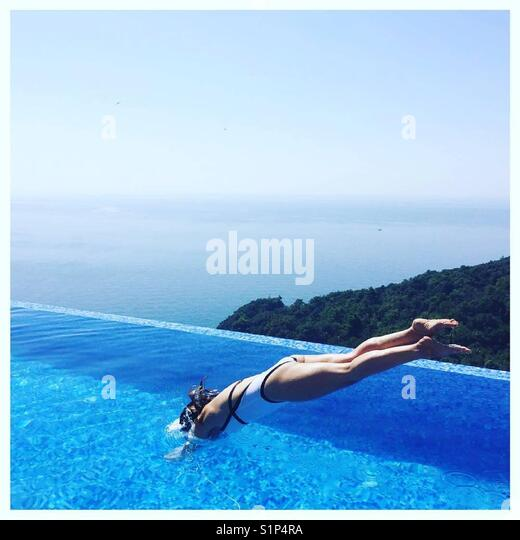 Dive into  pool - Stock Image