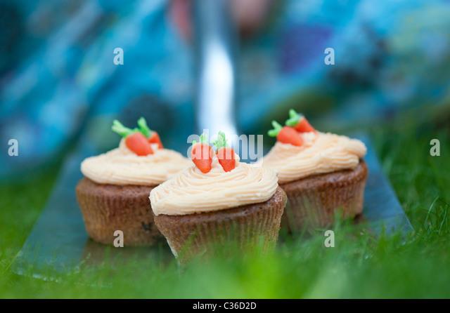 Carrot cupcakes on garden spade - Stock Image